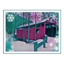 Red Covered Bridge Postcard