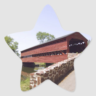 Red Covered Bridge Star Sticker