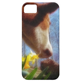 Red Cow and Yellow Daffodils iPhone SE/5/5s Case