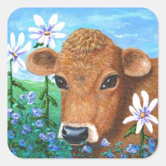 Red Cow Daisies Original Art Creationarts Square Sticker