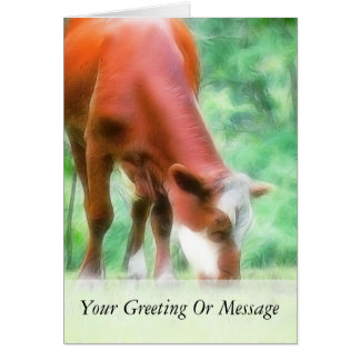Red Cow in the Green Meadow Card