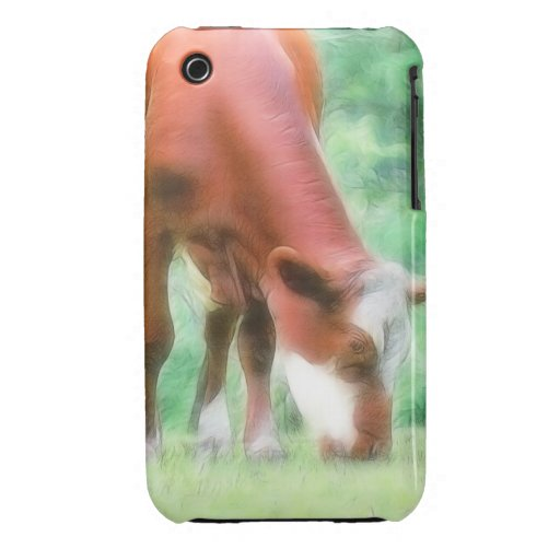 Red Cow in the Green Meadow Case-Mate iPhone 3 Case