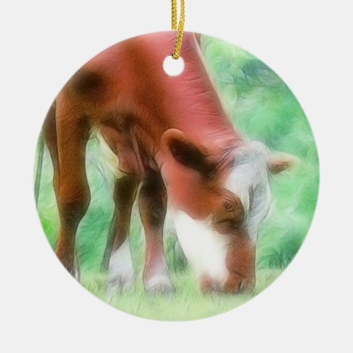 Red Cow in the Green Meadow Double-Sided Ceramic Round Christmas Ornament