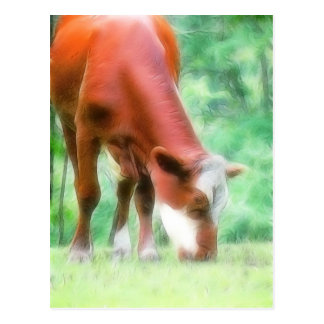 Red Cow in the Green Meadow Postcard