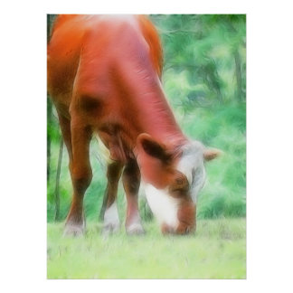 Red Cow in the Green Meadow Print