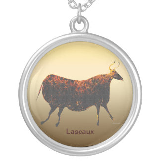 Red Cow of Lascaux Round Pendant Necklace