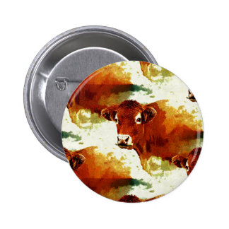 Red Cow Painting Button