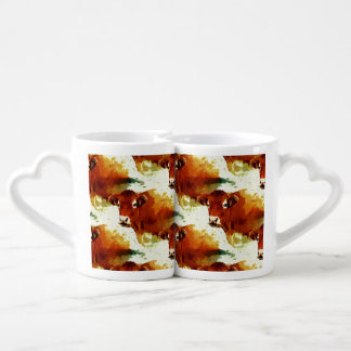Red Cow Painting Couples Coffee Mug
