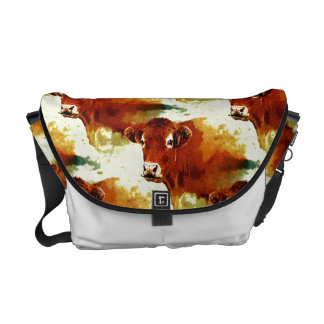 Red Cow Painting Courier Bag