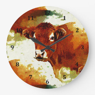 Red Cow Painting Large Clock