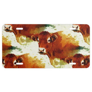 Red Cow Painting License Plate