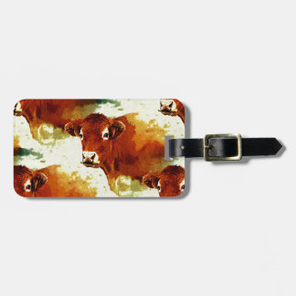 Red Cow Painting Luggage Tags