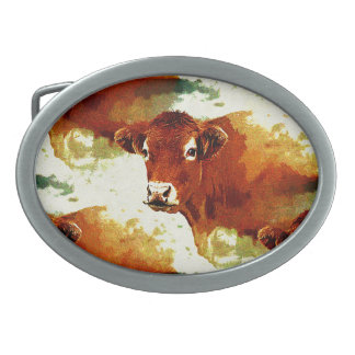 Red Cow Painting Oval Belt Buckle
