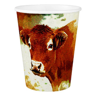 Red Cow Painting Paper Cup