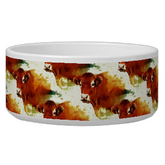 Red Cow Painting Pet Food Bowls