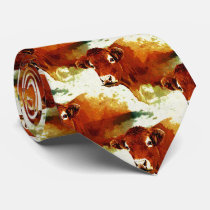 Red Cow Painting Tie