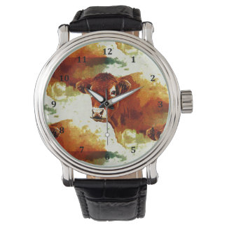 Red Cow Painting Wrist Watch