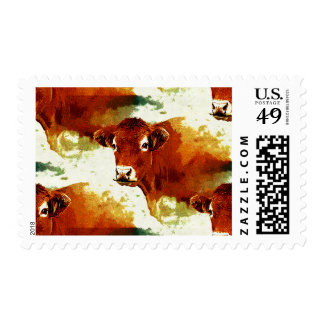 Red Cow Pattern Postage Stamps