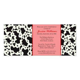 Red Cow Print Bridal Shower Card