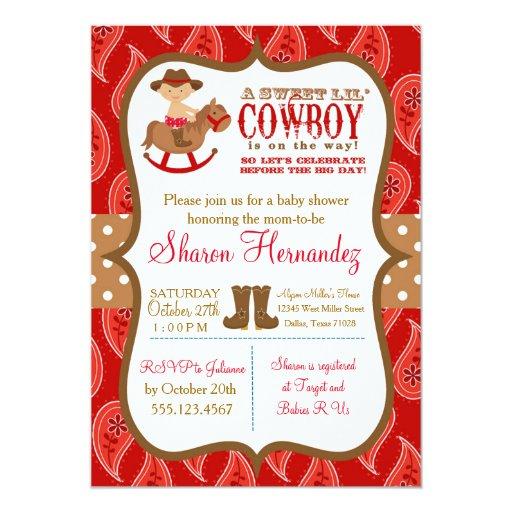 Red Cowboy Baby Boy Shower Invitation