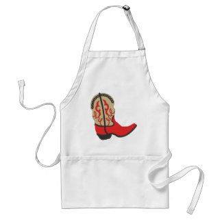 Red Cowboy Boot Adult Apron