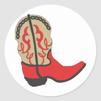 Red Cowboy Boot Classic Round Sticker