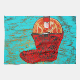 Red Cowboy Boot Kitchen Towel Distressed Turqoise