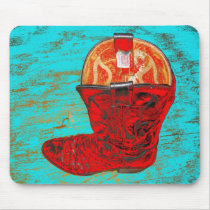 Red Cowboy Boot Mousepad