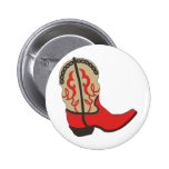 Red Cowboy Boot Pinback Button