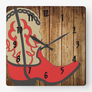 Red Cowboy Boot Square Wall Clock