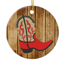 Red Cowboy Boot wood Background Ceramic Ornament