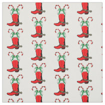 Red Cowboy Boots And Candy Canes Holiday Fabric
