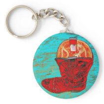 Red Cowboy Boots Keychain