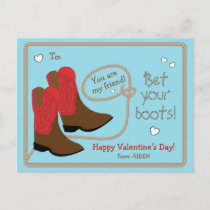 Red Cowboy Boots Photo Classroom Valentine's Day Holiday Postcard