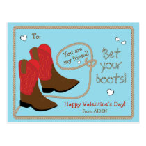 Red Cowboy Boots Photo Classroom Valentine's Day Postcard