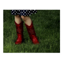 Red Cowboy Boots Postcard