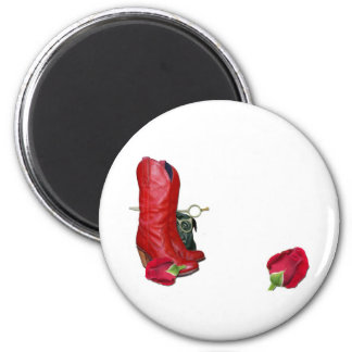 Red Cowboy Boots, Red Roses, Pug Dog & Scissors 2 Inch Round Magnet