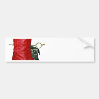 Red Cowboy Boots, Red Roses, Pug Dog & Scissors Bumper Sticker