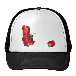 Red Cowboy Boots, Red Roses, Pug Dog & Scissors Trucker Hats