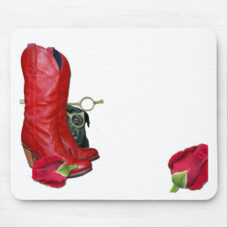 Red Cowboy Boots, Red Roses, Pug Dog & Scissors Mouse Pad