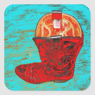 Red Cowboy Boots Stickers Turquoise Background