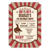 Red Cowboy Rodeo Birthday Party Invitation