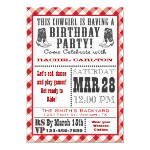 Cowgirl Birthday Invitations Announcements Zazzle