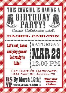 Cowgirl birthday invitations zazzle red cowgirl birthday invitation filmwisefo