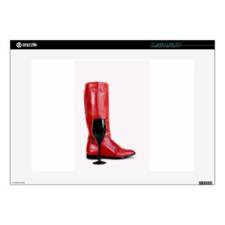 """Red Cowgirl Boot Western Wineglass Wine Decal For 15"""" Laptop"""