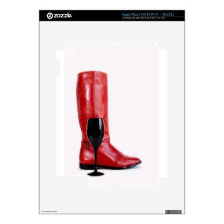 Red Cowgirl Boot Western Wineglass Wine iPad 3 Skin