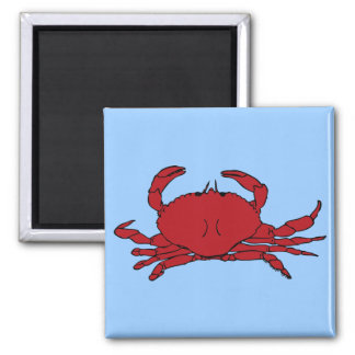 Red Crab 2 Inch Square Magnet
