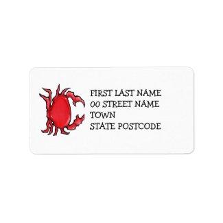 Red Crab Address Label label