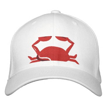 Beach Themed Red Crab  Beach Embroidered Baseball Cap