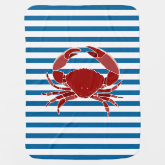 Red Crab Blue and White Horizontal Stripe Baby Blanket